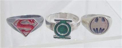 198 Batman Superman  Green Lantern Silver Rings