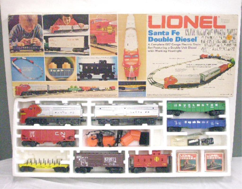 387: 1970's Lionel Santa Fe Double Diesel Train Set