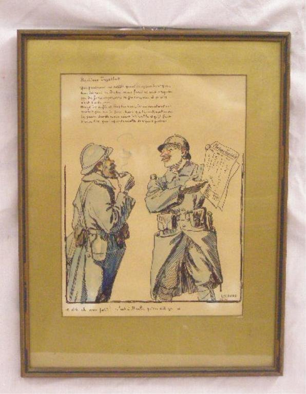 French World War 1 Pen & Ink Drawing