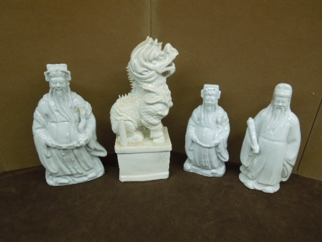 Four Chinese Blanc de Chine Figures