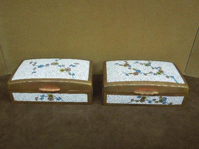 Pair Chinese Cloisonne Cigarette Boxes
