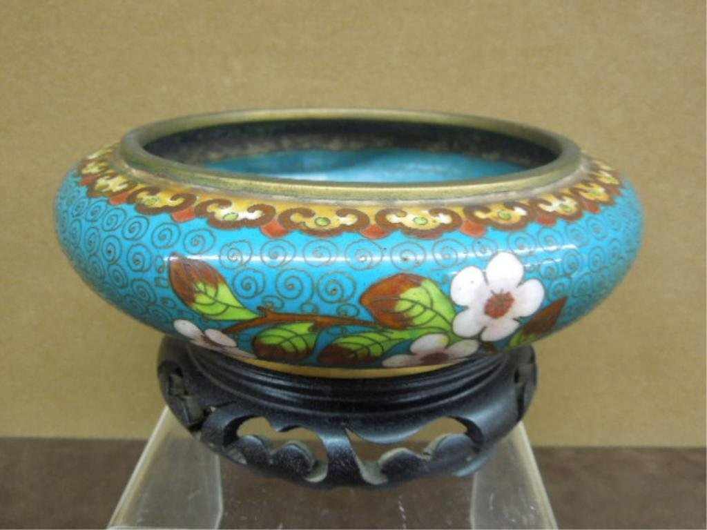 Chinese Cloisonne Shallow Bowl on Stand