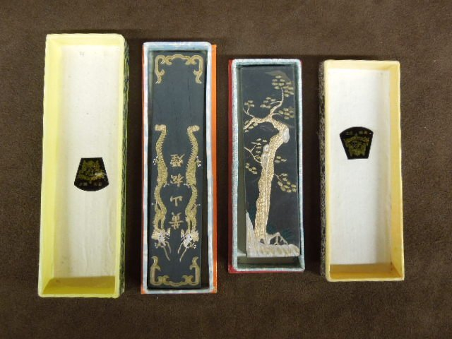 Two Chinese Gold Leaf Ink Sticks
