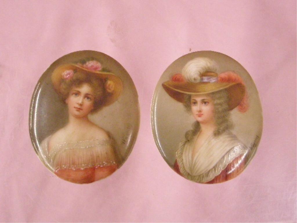 19th c. Continental Porcelain Portrait Plaques