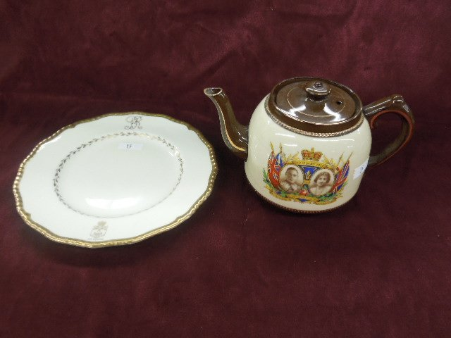 George VI Coronation Teapot & Plate