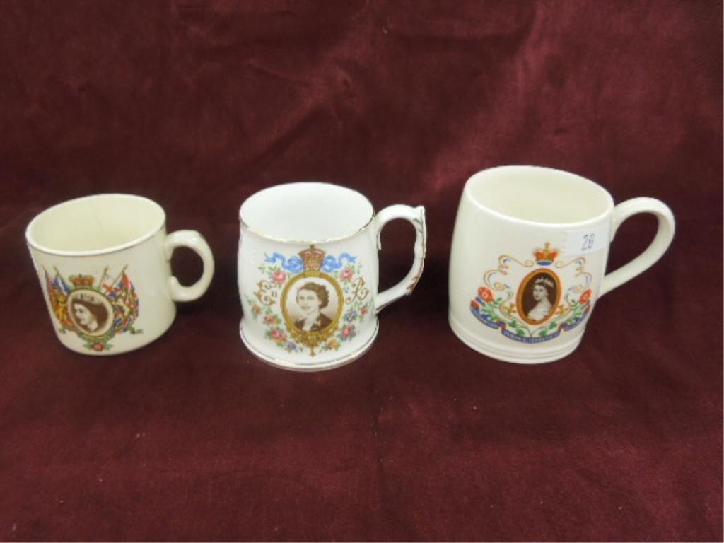 3 - Queen Elizabeth II Coronation Mugs