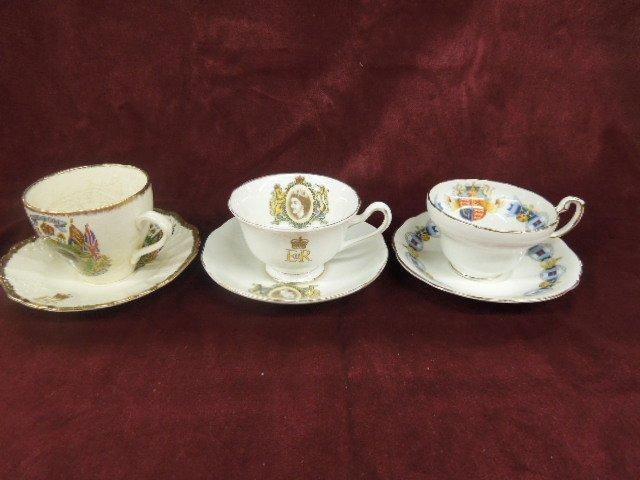 3 - Queen Elizabeth II Cups & Saucers