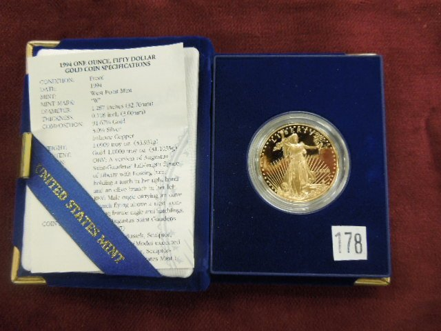 1994w Proof $50 Gold Coin Standing Liberty