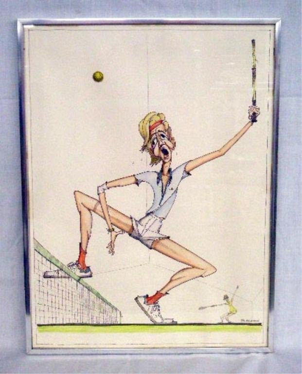 Ted Brandow Mixed Media Tennis Drawing