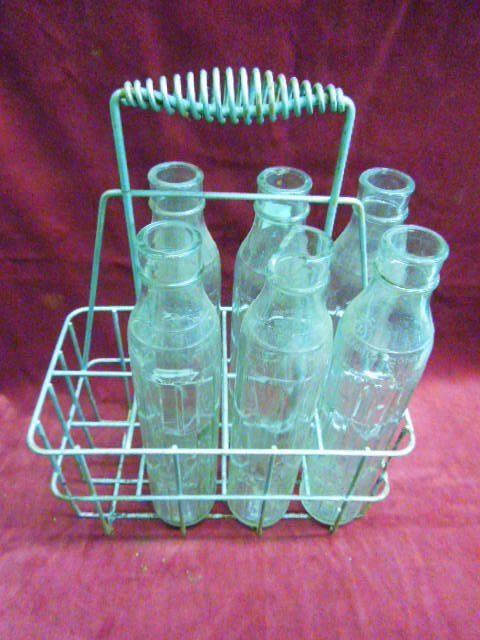 6 Rare Antique Glass Shell Oil Bottles With Carrie - 4
