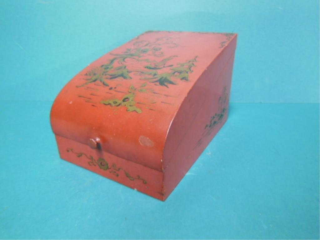 Chinoiserie Red Tin Box