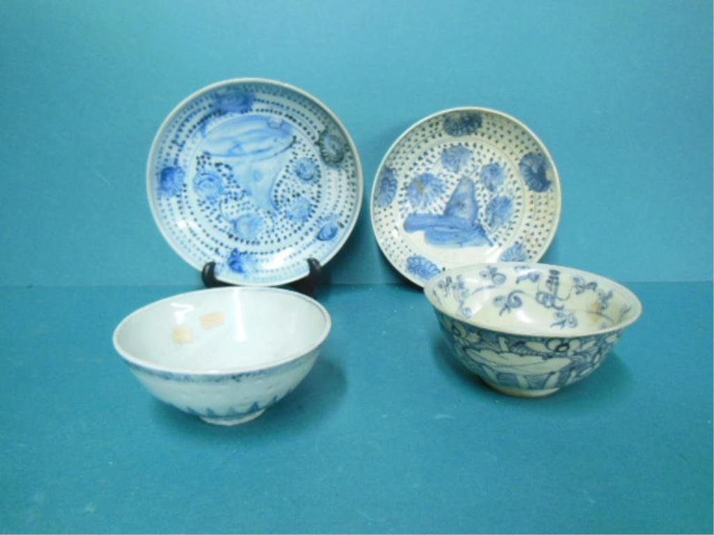 4 Blue and White Chinese Porcelain Bowls