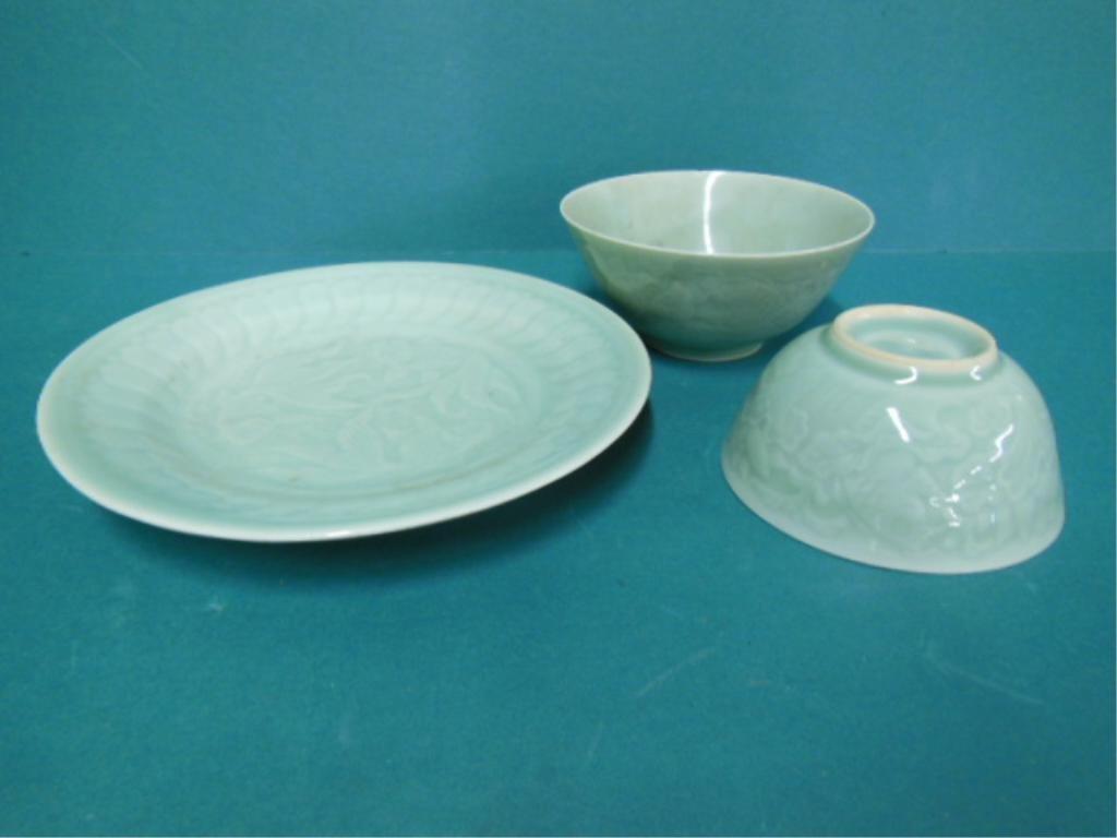 Three Zhong Guo Longquan Celadon Porcelian Pieces