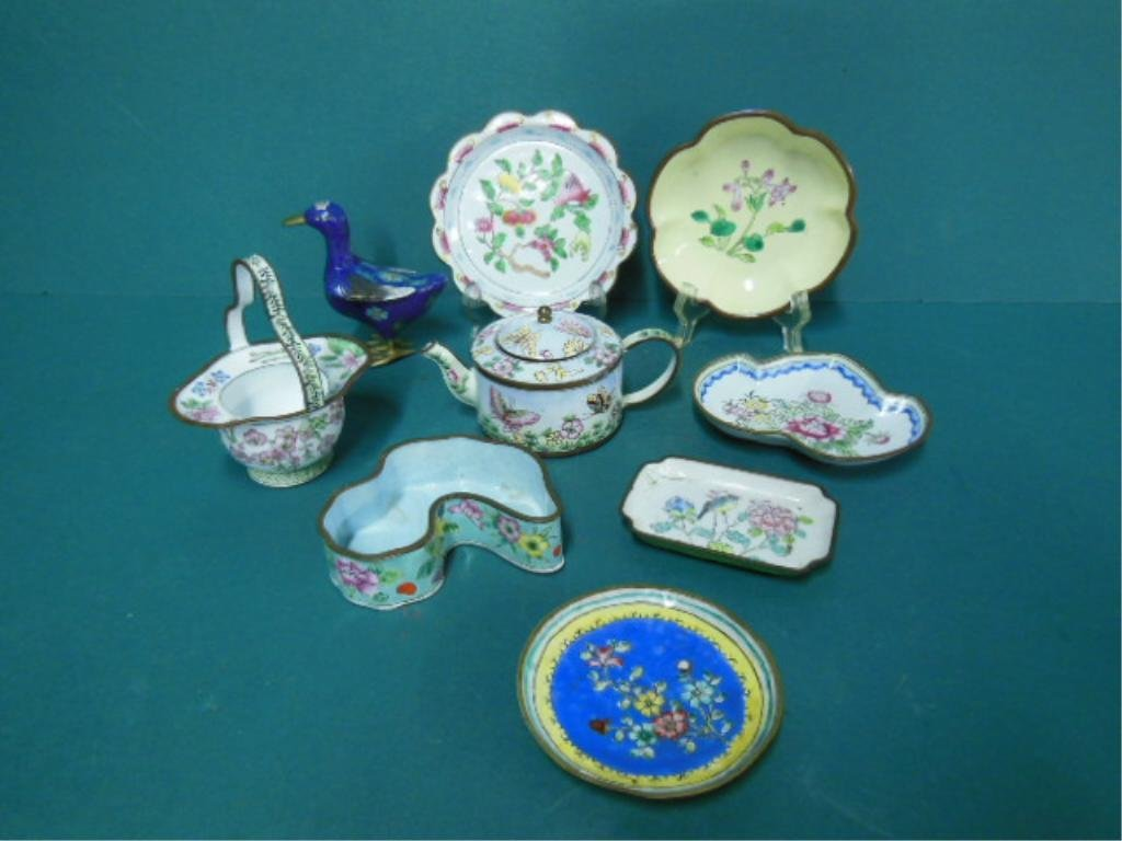 8 Pcs of Chinese Enamel Over Copper