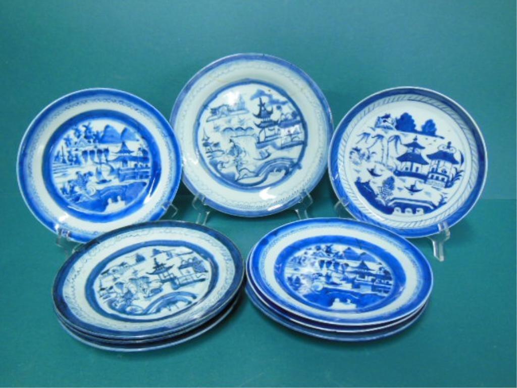 Lot of Canton Blue & White Porcelain Plates & Bowl
