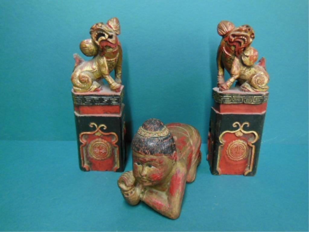 3 Carved Wood Chinese Figures