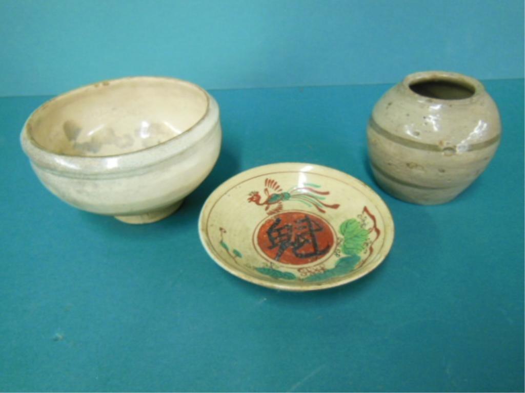 3 Oriental Stoneware Pieces