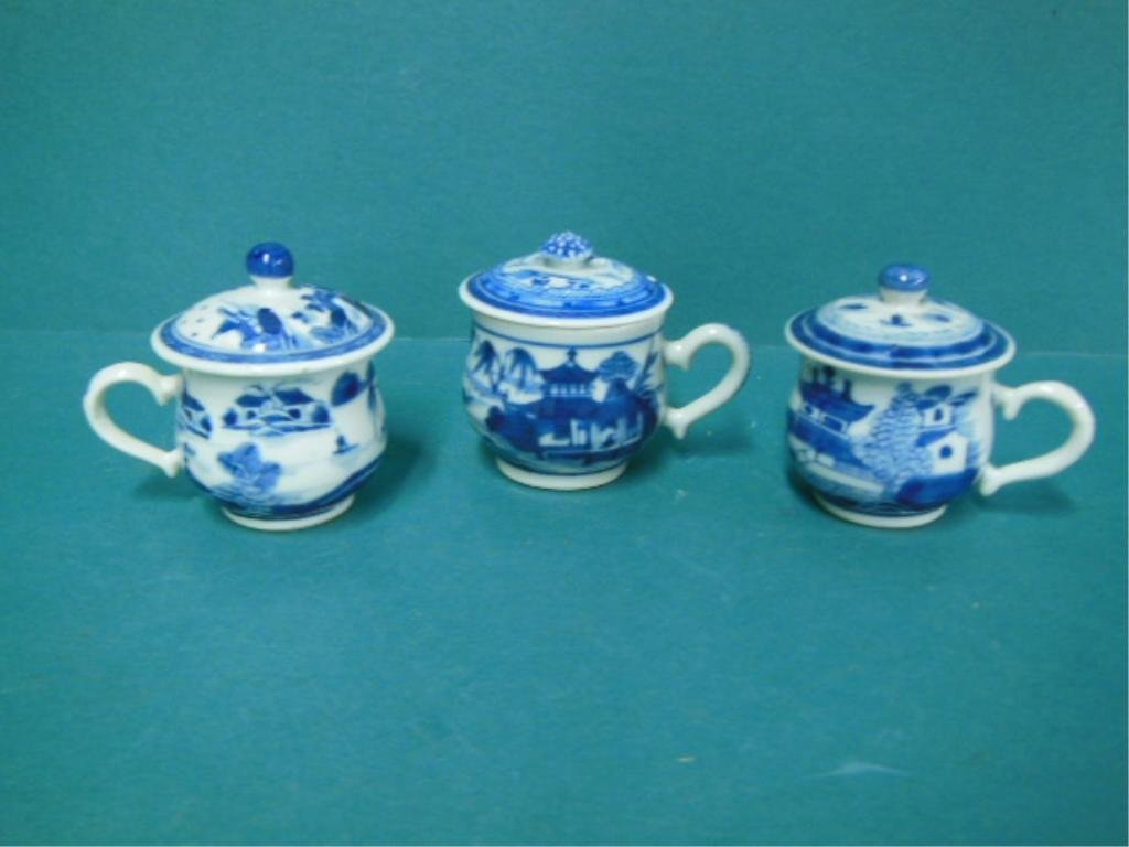 3 Blue and White Porcelain Covered Cups