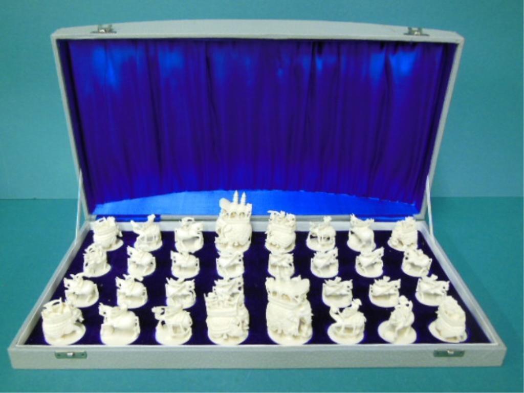 Elaborately Carved Ivory Chess Set
