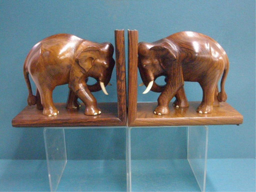 Wood & Ivory Elephant Bookends