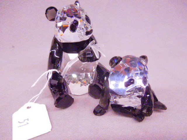 "2 Swarovski Figures ""Panda Bear & Cub"""