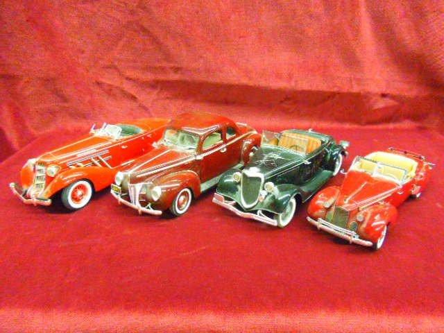Four Die Cast 1940's Cars