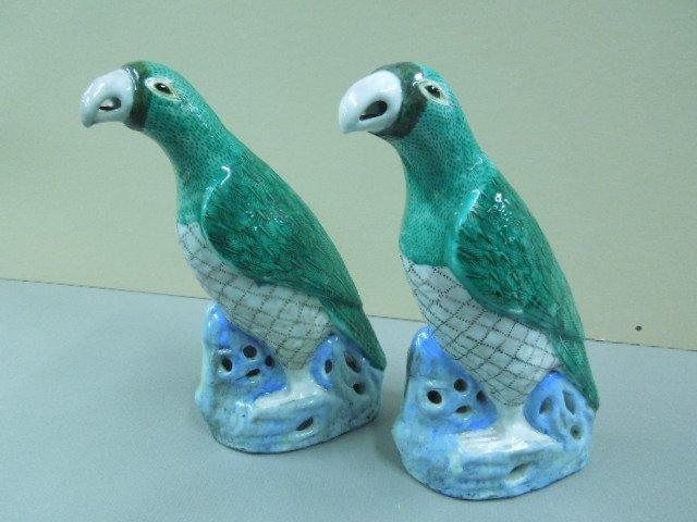Pr. Oriental Porcelain Parrots