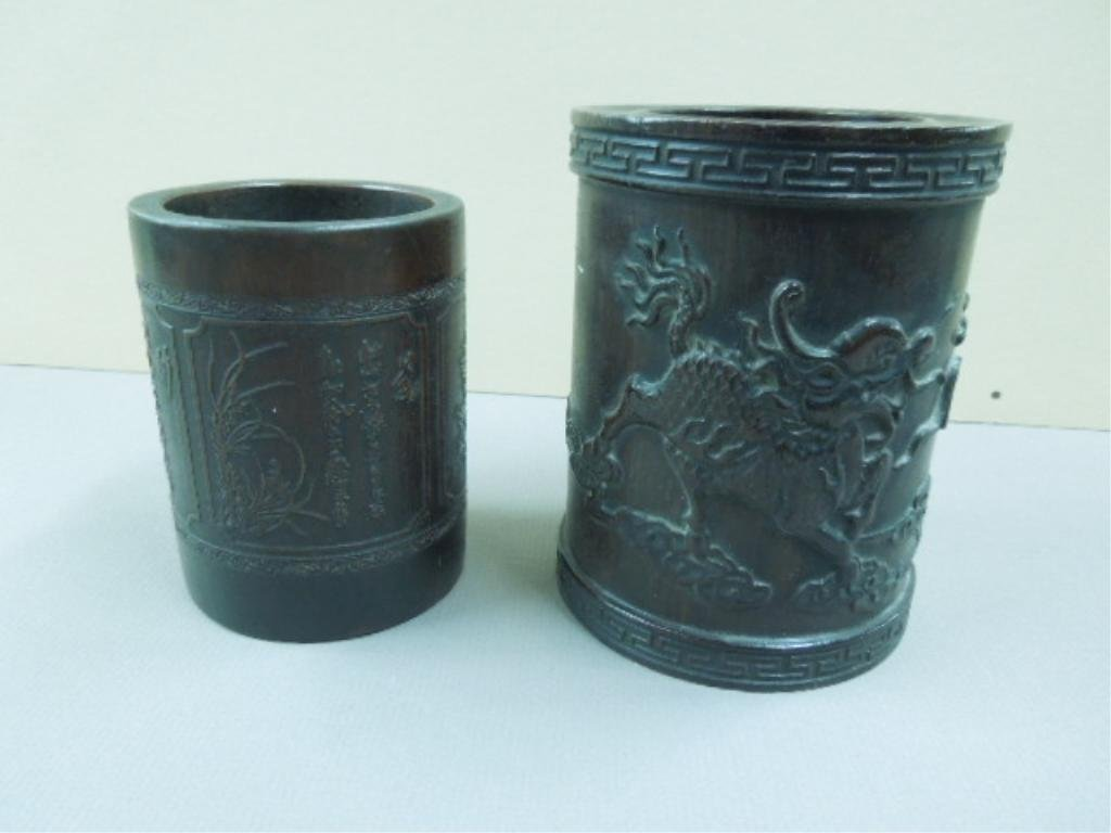 (2) Chinese Bamboo Carved Brush Pots