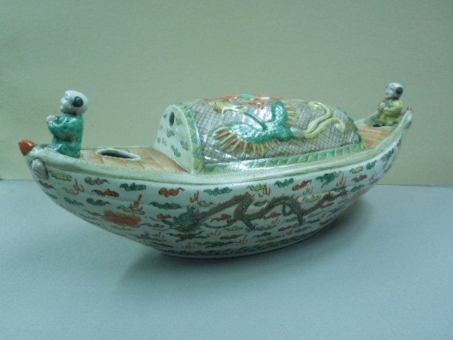 Chinese Famille Verte Boat Center Piece