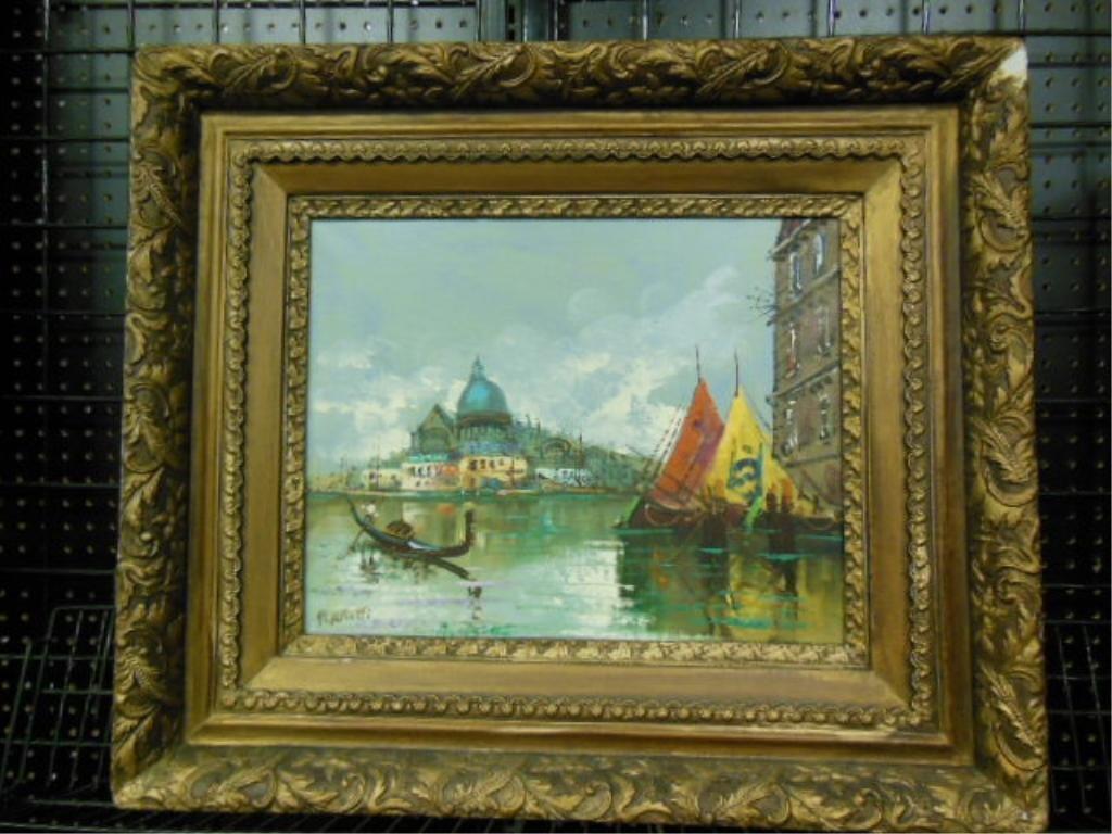 Peretti, o/c, Venetian Water Scene With Boats