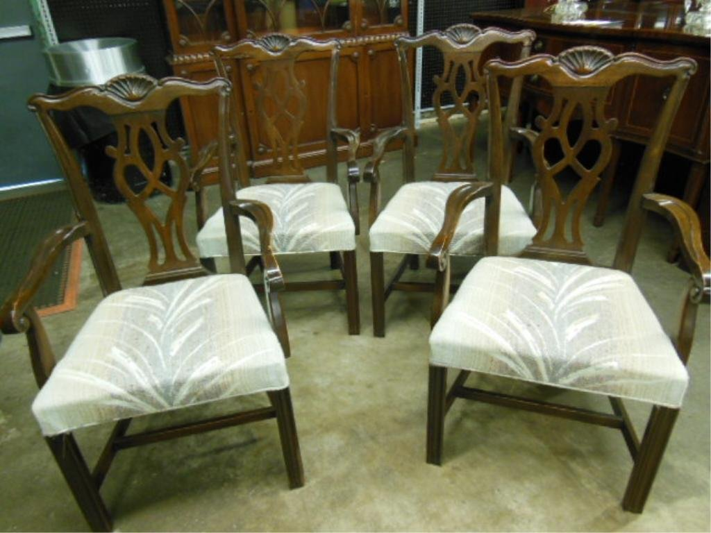 Set of 4 Chippendale Style Arm Chairs