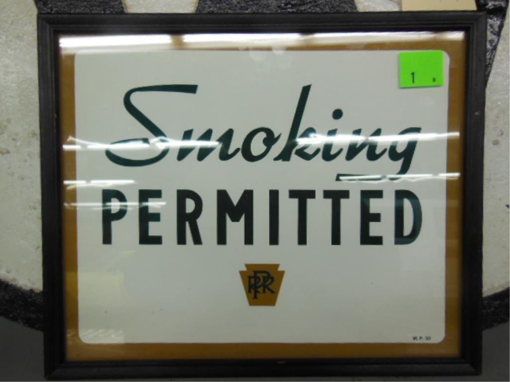 Framed P.R.R. Smoking permitted sign
