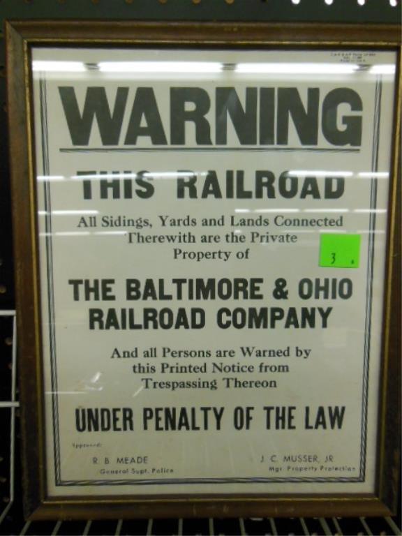Framed B&O R.R. warning sign