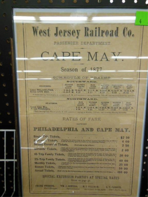Framed West Jersey R.R. rates of fare notice