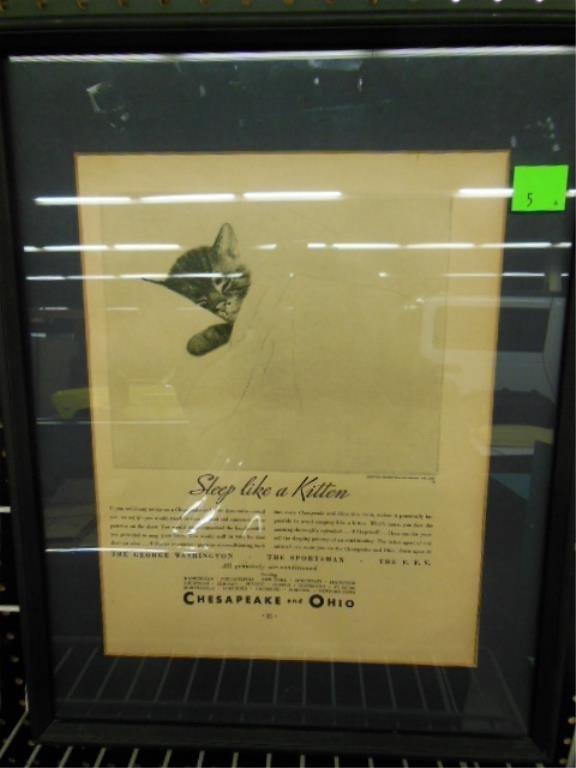 Framed C&O R.R. advertisement