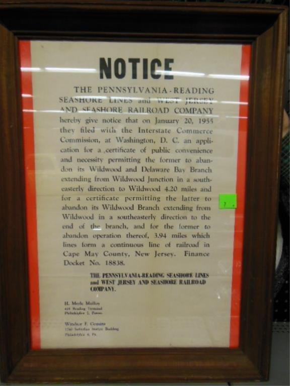 Framed Phila. & Reading notice