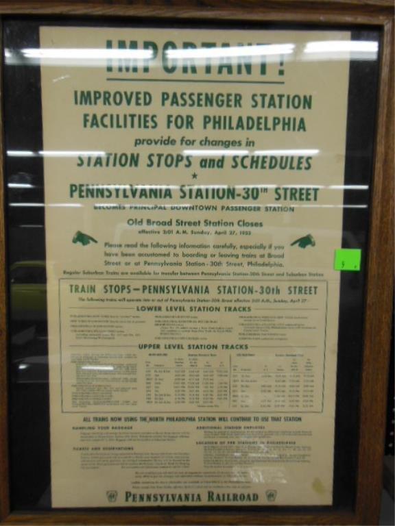 Framed P.R.R. broadside 30th st. station schedule