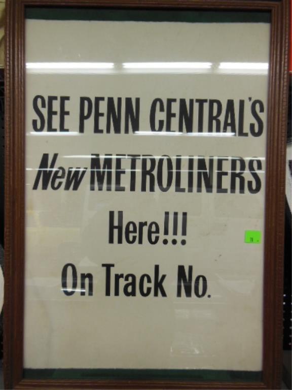 Framed Penn Central's Metroliner poster