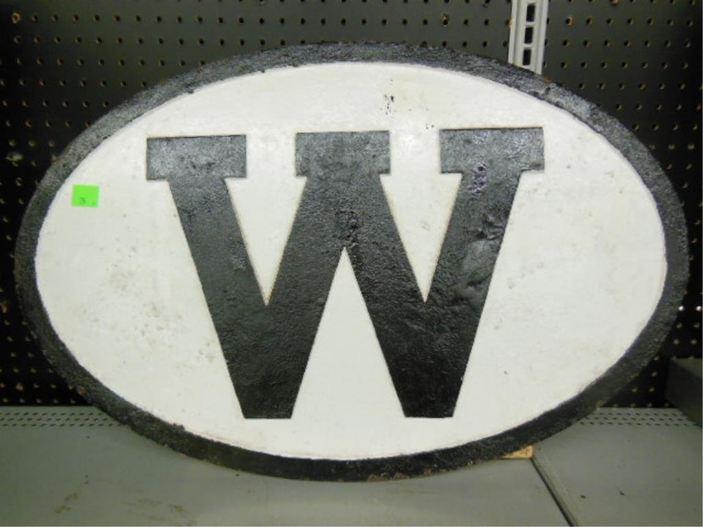 """Cast Iron Oval """"Whistle Sign"""""""