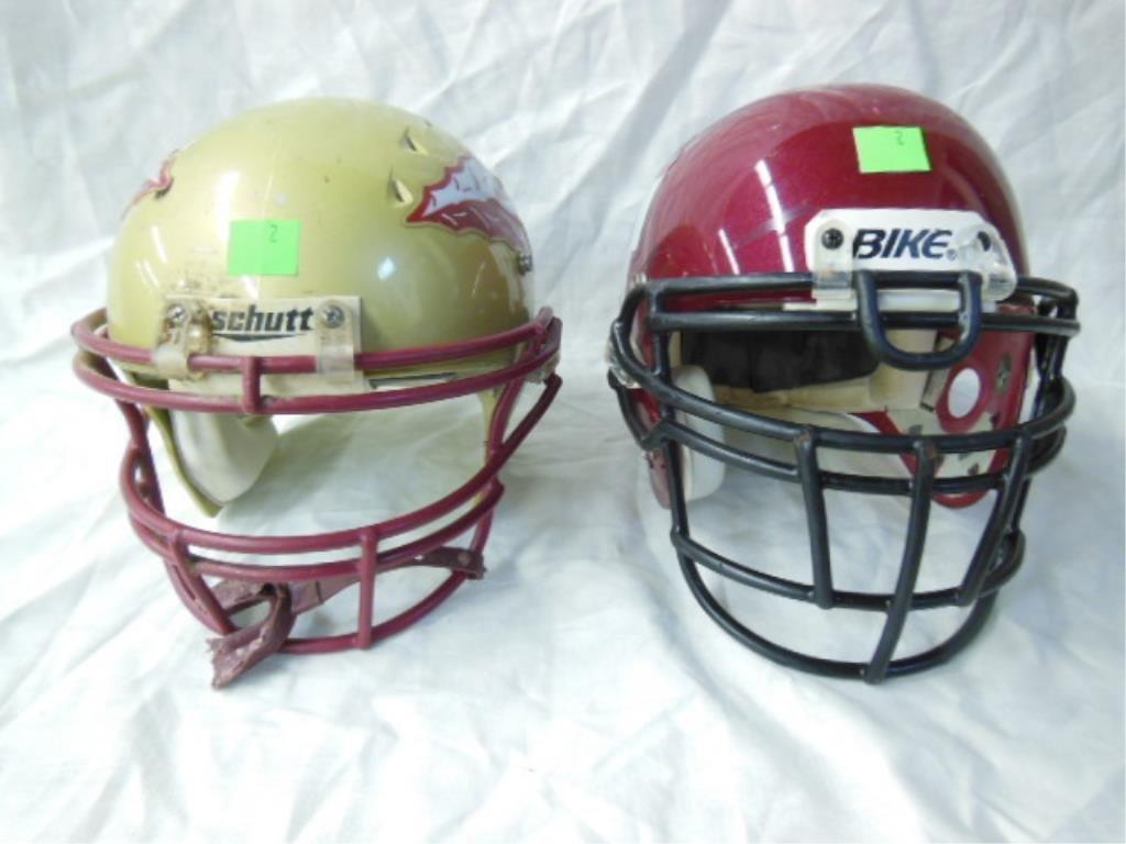 2 Football Helmets
