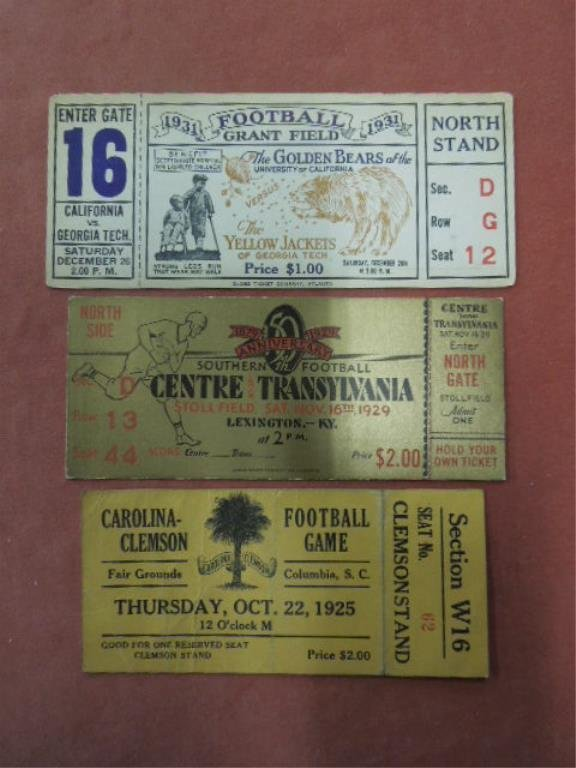 3 College Football Tickets, 1920s-30s