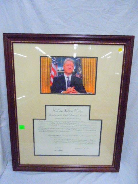 Bill Clinton Photo w/ Signed Certicate of Office