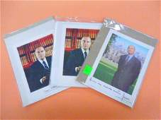3 Signed Photos Mitterrand