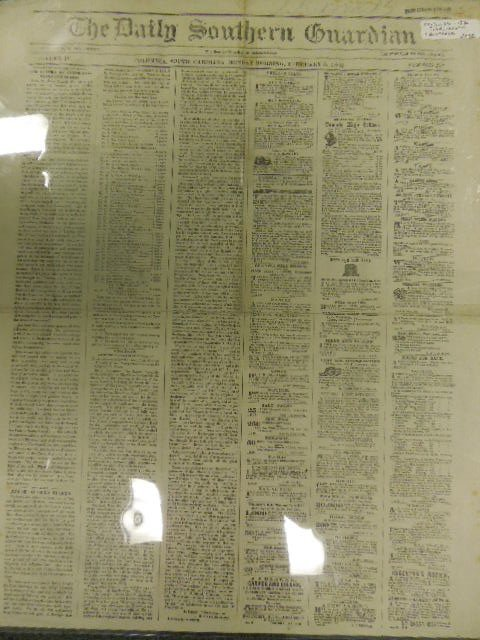 1862 Confederate Newspaper The Daily Southern Guardian