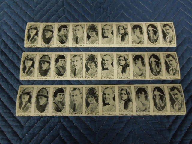 3 Silent Screen Stars Photo Card Strips
