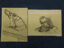 5 Ink  Pencil Drawings some Signed