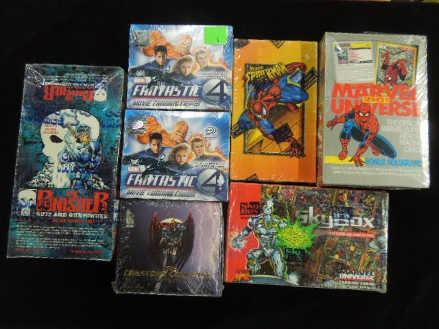 7 Boxes of Marvel Trading Cards
