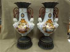 Pr  Old Paris Porcelain Lamps