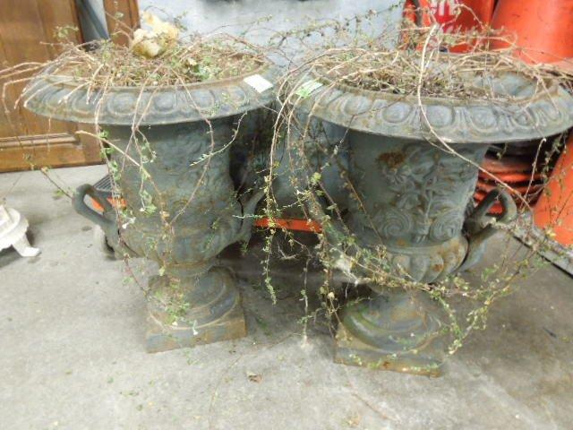 Pr Cast Iron Urn Form Planters