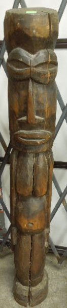 Polynesian Figural Totem, Hand Carved Wood